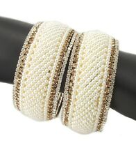 Pearl gold plated CZ fashion jewelry bridal 2pc broad bangle bracelet l1018