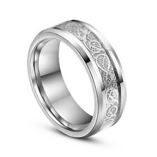 Fashion Men Silver Celt Dragon Stainless Steel Engagement Band Ring Size 6-13