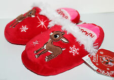 Rudolph Red Nosed Reindeer NWT Girl's Christmas Slippers Scuffs