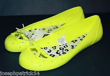 Gap Kids NWT Girl's Neon Yellow Jelly Bow Ballet Flats Shoes Cute!