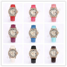 PU Leather Crystal Roman Numerals Ladies Quartz Bracelet Wrist Watch Women Gifts
