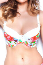 LIGHTLY PADDED FLORAL WHITE NURSING BRA UNDERWIRED LIGHTLY PADDED COTTON LINED