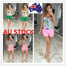 Women Butterfly Printed Off Shoulder Chiffon Casual Jumpsuit  Short Pants Romper