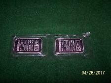 JOHNSON MATTHEY 2 ONE OZ OUNCE SILVER BARS 1 TROY OUNCE FINE SILVER (LOT OF 2)