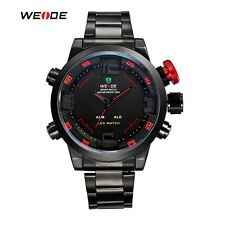 WEIDE Brand Mens Military Watches Multifunction Waterproof LED Casual Watch Stai
