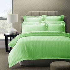 Cotton Solid Satin Plain Double King Size Bedsheet with 2 Pillow Covers, Green