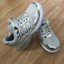 Girls Kid Children Silver Shock Absorb Run Sport Trainer Dance Shoe Sneaker Size
