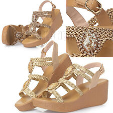 Women's Straw Rattan Rhinestone Platform Wedge Buckle Strap Beach Sandals Shoes