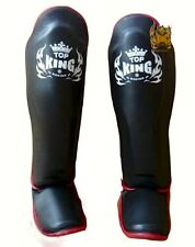 TOP KING GENUINE LEATHER MUAY THAI SHIN GUARDS- TKSGP-BLACK w/ RED TRIM -DURABLE