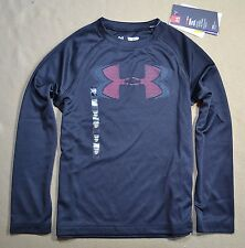 NWT BOYS UNDER ARMOUR BLACK HEAT GEAR LONG SLEEVE CREW NECK TSHIRT SZ XS M XL