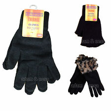 Womens Black Winter Gloves With Thermal Heat Retaining Fleece Insulated
