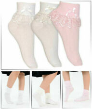 Baby Cream, Pink and White Jester Frilly Lace Socks 1 Pair Or 3 Pairs Lot