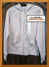 EDDIE BAUER NEW Front Zip Cotton Fleece Long-Sleeve Gray Hoodie Sweat Jacket S