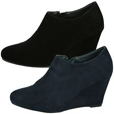 Maddy Womens Mid High Wedges Heelz Zip Up Ankle Boots Ladies Shoes Booties Size
