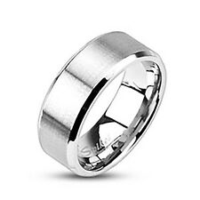 Stainless Steel Men's 8MM Beveled Edge Brushed Wedding Band Ring Size 9-13