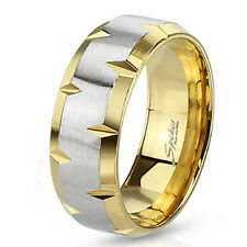 Stainless Steel Mens 8MM Yellow Gold Plated Beveled Edge Wedding Band Ring 9-13