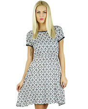 Bimba Women Printed Rayon Dress Casual Bohemian Clothing Shift Dress