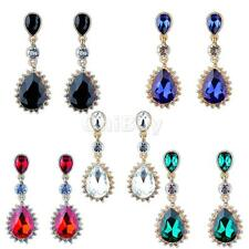 Vintage Style Women Bridal Crystal Diamante Teardrop Drop Dangle Earrings Gifts