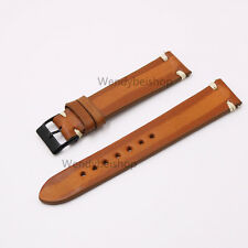 20mm New Real Calf Leather Two Tone Orange Vintage Wrist Watch Band Strap Belt