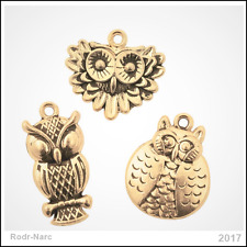 !New! Antique Gold Owl Charms Authentic Spring Charm Fashion !Free Shipping!