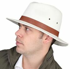 Mens Ladies 100% Cotton Fedora Hat with Brown Faux Leather Band Summer Trilby