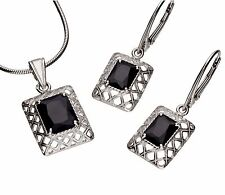 925 Silver JEWELRY SET with zirconia, Black, PENDANT+Earrings Incl. Jewelry Case