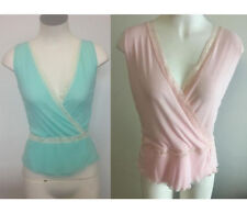 Ladies Top Girl Blue or Pink Sheer Singlet Top with Lace Trim Size 10,12,16