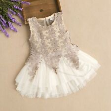 New Summer Lace Hollow Floral Baby Girl Dancing Princess Layered Party dress