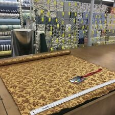 Golden Amber Brown Floral Vine Damask Upholstery / Drapery Fabric | Satin Weave