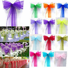 10/50/100Pcs Organza Chair Covers Sash Bow Wedding Reception Party Banquet Decor