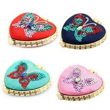 Heart Shaped Butterfly Pattern Button Closure Portable Cosmetic Makeup Mirror