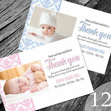 Personalised New Baby Thank You Cards / Announcement (NB12)