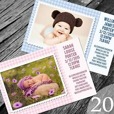 Personalised New Baby Thank You Cards / Announcement (NB20)