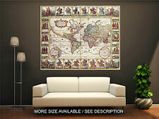 Wall Art Canvas Print Picture  Antique World Old Map Ancient-Unframed