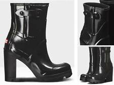"Stunningly Beautiful & Sexy Hunter Original 4"" High Heel Black Glossy Rain Boots"