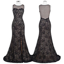 Black Long Vintage Formal Bridesmaid Lace Wedding Gown Evening Party Prom Dress*