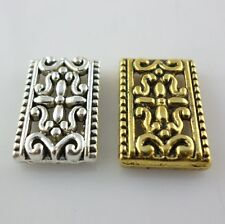 20/160pcs Tibetan Gold/Silver rectangle Carved Flower Charm Connectors 12x18mm