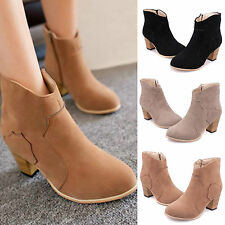 Wome Winter Zipper Riding Nubuck Ankle Cowboy Boot Mid heel High Rider Shoes New
