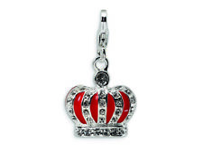 Amore LaVita 3-D Crystal Enameled Red Crown w Clasp for Charm Bracelet