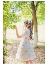 Sweet Lovely Girl Princess Lolita Lace floral printing chiffon suspender dress