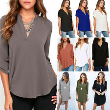 Plus Size Women Ladies V Neck Chiffon Tops Loose Casual T Shirts Blouse AU 6-18