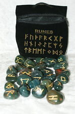 Witches Runes Bloodstone crystal runes set in pouch~Scrying Altar Divination