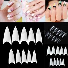 500PCS Clear Natural White UV Gel False Nail Tips Point Stiletto French Acrylic