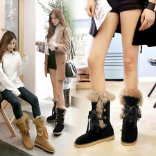 Winter Women's Lace-up Fur Lining Faux Suede Ankle Warm Mid-calf Snow Boots SZ