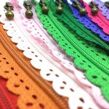 20cms Floral Closed End Nylon Lace Zips - 20cms Zippers