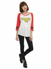DC Comics Wonder Woman LOGO Burnout Raglan Baseball Tee Shirt Blouse Juniors XL