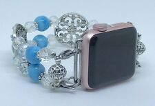 Light Blue/Clear Crystal Beaded Watch Band for Apple Watch Wrist Size 7 3/4 to 8