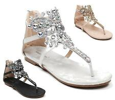 LADIES WOMENS FLAT DIAMANTE STRAPPY ZIP GLADIATOR SUMMER SANDALS SHOES SIZE