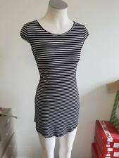 Ladies Ajoy Short Black & White Striped Light Casual Summer Dress Size XS