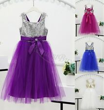Sequins Baby Girl Dress Party Gown Bridesmaid Dresses Tulle Tutu Bow Backless
